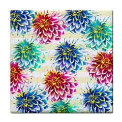 Colorful Dahlias Tile Coasters