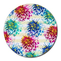 Colorful Dahlias Round Mousepads