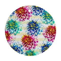 Colorful Dahlias Ornament (round)  by DanaeStudio