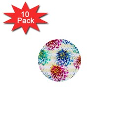 Colorful Dahlias 1  Mini Buttons (10 Pack)  by DanaeStudio