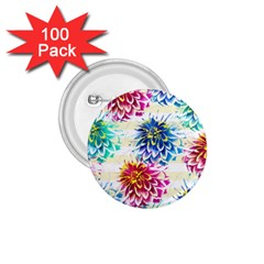 Colorful Dahlias 1 75  Buttons (100 Pack)