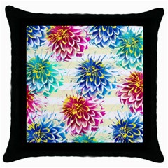 Colorful Dahlias Throw Pillow Case (black) by DanaeStudio