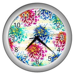Colorful Dahlias Wall Clocks (silver)  by DanaeStudio