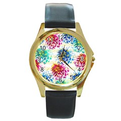Colorful Dahlias Round Gold Metal Watch by DanaeStudio