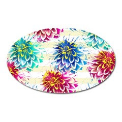 Colorful Dahlias Oval Magnet by DanaeStudio