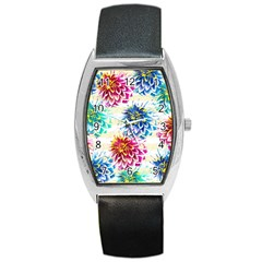 Colorful Dahlias Barrel Style Metal Watch