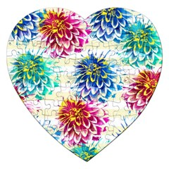 Colorful Dahlias Jigsaw Puzzle (heart) by DanaeStudio