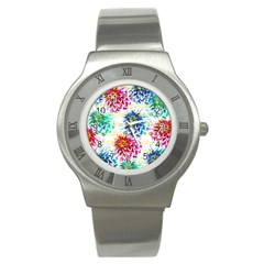 Colorful Dahlias Stainless Steel Watch by DanaeStudio
