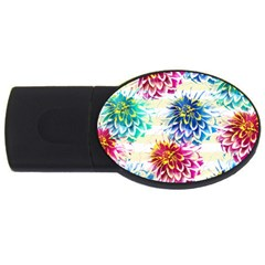 Colorful Dahlias Usb Flash Drive Oval (4 Gb)  by DanaeStudio