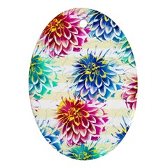 Colorful Dahlias Oval Ornament (two Sides) by DanaeStudio