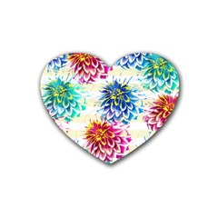 Colorful Dahlias Heart Coaster (4 Pack)  by DanaeStudio