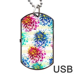 Colorful Dahlias Dog Tag Usb Flash (one Side) by DanaeStudio