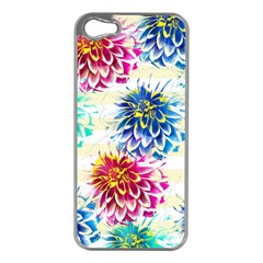 Colorful Dahlias Apple Iphone 5 Case (silver) by DanaeStudio
