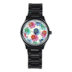 Colorful Dahlias Stainless Steel Round Watch by DanaeStudio