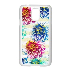 Colorful Dahlias Samsung Galaxy S5 Case (white) by DanaeStudio