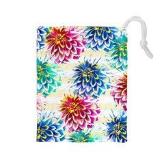 Colorful Dahlias Drawstring Pouches (large)  by DanaeStudio