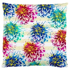 Colorful Dahlias Large Flano Cushion Case (two Sides) by DanaeStudio