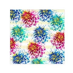 Colorful Dahlias Small Satin Scarf (square) by DanaeStudio