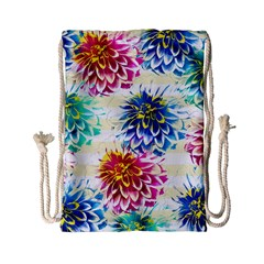 Colorful Dahlias Drawstring Bag (small) by DanaeStudio