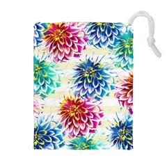Colorful Dahlias Drawstring Pouches (extra Large) by DanaeStudio