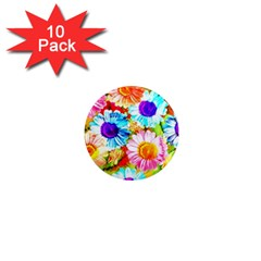 Colorful Daisy Garden 1  Mini Magnet (10 Pack)  by DanaeStudio
