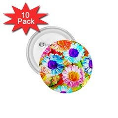 Colorful Daisy Garden 1 75  Buttons (10 Pack) by DanaeStudio