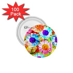 Colorful Daisy Garden 1 75  Buttons (100 Pack)  by DanaeStudio