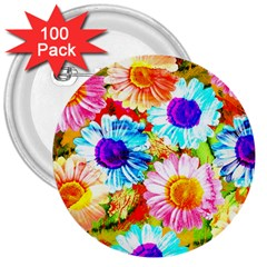Colorful Daisy Garden 3  Buttons (100 Pack)  by DanaeStudio