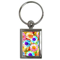 Colorful Daisy Garden Key Chains (rectangle)  by DanaeStudio