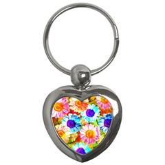 Colorful Daisy Garden Key Chains (heart)  by DanaeStudio