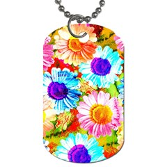 Colorful Daisy Garden Dog Tag (one Side) by DanaeStudio