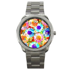 Colorful Daisy Garden Sport Metal Watch by DanaeStudio