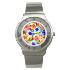 Colorful Daisy Garden Stainless Steel Watch by DanaeStudio