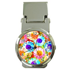 Colorful Daisy Garden Money Clip Watches by DanaeStudio