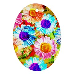 Colorful Daisy Garden Oval Ornament (two Sides) by DanaeStudio