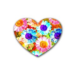 Colorful Daisy Garden Heart Coaster (4 Pack)  by DanaeStudio