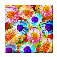 Colorful Daisy Garden Face Towel by DanaeStudio