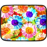 Colorful Daisy Garden Double Sided Fleece Blanket (Mini)  35 x27 Blanket Back