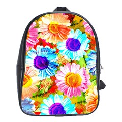Colorful Daisy Garden School Bags(large)  by DanaeStudio