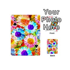 Colorful Daisy Garden Playing Cards 54 (mini)  by DanaeStudio