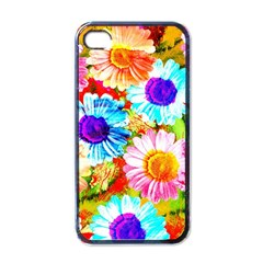 Colorful Daisy Garden Apple Iphone 4 Case (black)