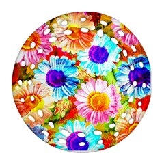 Colorful Daisy Garden Round Filigree Ornament (2side)
