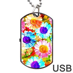 Colorful Daisy Garden Dog Tag Usb Flash (two Sides)