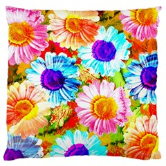 Colorful Daisy Garden Large Cushion Case (one Side) by DanaeStudio