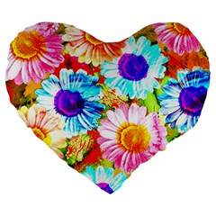 Colorful Daisy Garden Large 19  Premium Heart Shape Cushions by DanaeStudio