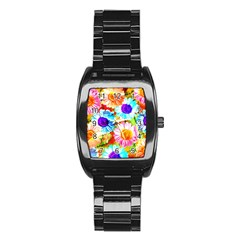 Colorful Daisy Garden Stainless Steel Barrel Watch