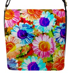 Colorful Daisy Garden Flap Messenger Bag (s) by DanaeStudio