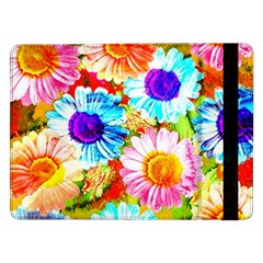 Colorful Daisy Garden Samsung Galaxy Tab Pro 12 2  Flip Case by DanaeStudio
