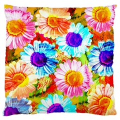 Colorful Daisy Garden Standard Flano Cushion Case (one Side) by DanaeStudio