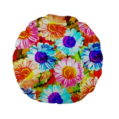 Colorful Daisy Garden Standard 15  Premium Flano Round Cushions